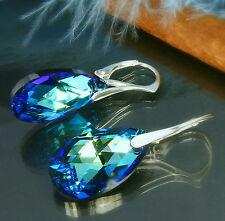 Ohrringe 925 Silber  Swarovski Elements Blau Türkis Grün Blue Dunkelblau