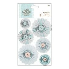 PAPERMANIA Capsule Collection 6pc Paper Pin Wheel Flowers Eau De Nil Card Craft