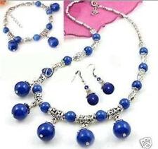 Tibet Silver Lazuli Lapis Necklace Bracelet Earring Set LL021