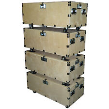 "48"" Crate Style Trunk Cases - 1/2"" Ply Heavy Duty w/Wheels - 4 Pc Stacking Set"