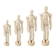 4 Pcs Wood Family Figures Doll Manikin Unpainted Articulated Mannequin Model