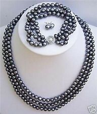 3 rows 6-7mm Natural black pearl necklace 17-19'' bracelet earrings 7.5''set