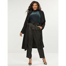 Lane Bryant Belted Pull-On Ankle Pant-Satin, Black, Size 18 NEW $70