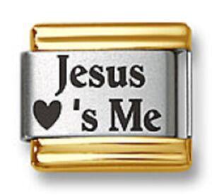 Italian Charm Bracelet Link Laser Jesus Heart Me 9mm Gold Trim Stainless Steel