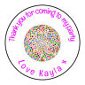 Disco Ball Colour Personalised Thank You Sticker Party Sweet Cone Birthday