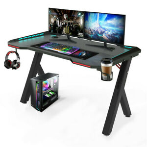 120cm Large Gaming Desk Computer Table with RGB Lights Cup Holder Headphone Hook