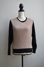 NWT Zara WB Collection Colorblock Textured  Long Sleeve Top Black Metallic S