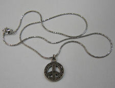Double-Sided 925 Sterling Silver Peace Sign Choker with Marcasites 39