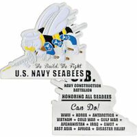 """NAVY HONORING ALL SEABEES WE BUILD WE FIGHT 2.75"""" MEDALLION CHALLENGE COIN"""
