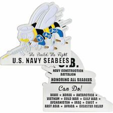 "NAVY HONORING ALL SEABEES WE BUILD WE FIGHT 2.75"" MEDALLION CHALLENGE COIN"