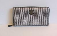 Tory Burch Kerrington Zip Continental Wallet zipper zag navy blue white new logo