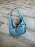 Blue Leather Hobo Bag, Fashion Slouchy Shoulder Handbag, Alyna