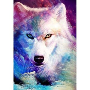 DIY 5D Full Drill Diamond Painting Kits Wall Decors Colorful Wolf Animals Gifts