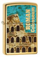 New ZIPPO Lighter 254B Roman Colosseum High Polish Brushed Chrome Classic Case