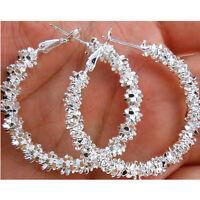 Orecchini pendenti in argento placcato a cerchio con orecchini pendenti in argen