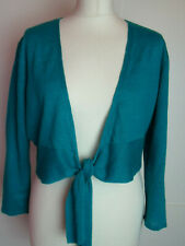 CARDIGAN SIZE 12 MEDIUM BY POMODORO EMBRODIERED FRONT FINE KNIT EMERALD BNWT