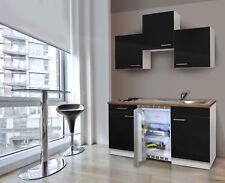 Cucina Singola Cucinino Mini Blocco 150 cm Bianco Nero Respekta