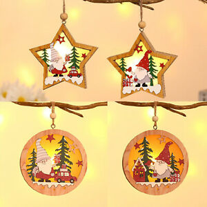 Christmas Santa Claus Tree Decor Pendant Kids Gift Crafts Wood Five-pointed Star