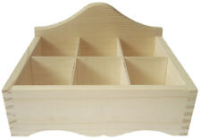 """ Pine wood open 6 compartment storage box DD136 beads parts display shop"