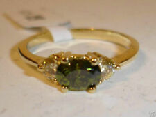 SOLITARE PERIDOT OVAL GEMSTONE WITH CZ ACCENTS RING - SIZES 7 THRU 9