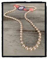 Collier Perle De Majorque long  Plaqué Or 18 CARATS  60 cm x 7MM  Bijoux Femme