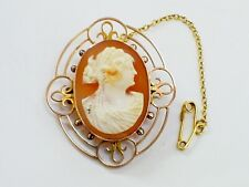 LOVELY ANTIQUE VICTORIAN 9CT ROSE GOLD CARVED SHELL DEMETER CAMEO BROOCH/D&Co