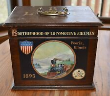 1895 Railroad Locomotive Firemen Superb Dovetailed Box Hand Painted Steam Engine