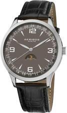 Akribos XXIV AK637SSB Swiss Quartz Moon Phase GMT Taupe Dial Mens Watch