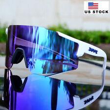 Men's Cycling Sunglasses Running Fishing Sports Women White Glasses Blue Lens