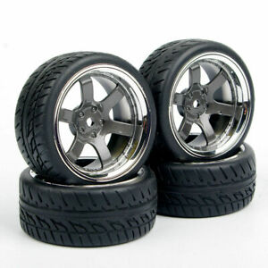 4Pcs Rubber Tires Wheel Rim PP0038For HSP HPI RC 1/10 Rally Racing Off Road Car