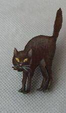 Vintage Style Halloween Black Cat Brooch or Scarf Pin Wood Accessories NEW