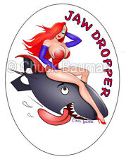 Jessica Rabbit Jaw Dropper bomber girl nose art busty babe pinup sticker decal