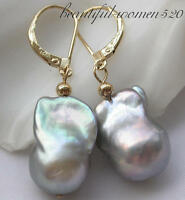 z3494 18mm Gray baroque keshi reborn pearl dangle earring