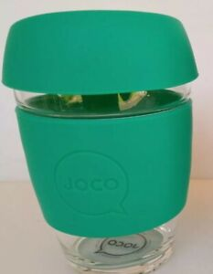 Joco Coffee Glass Mug 350ml siicone sleeve removable lid + OCD plastic mug + lid