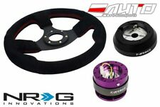 """NRG 320mm 1.5"""" DP Race Suede Steering Wheel Red St 160H Hub 2.0 PP Quick Release"""
