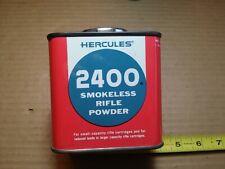 Nice Vintage Hercules Square Tin Can Smokeless Rifle Cartridge Powder #2400