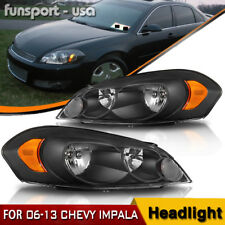 for 06-13 Chevy Impala 06 07 Monte Carlo Black Headlights Headlamps Pair