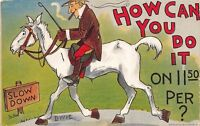 Dwig~HOW CAN YOU DO IT on $11.50 Per? Man on White Horse~Slow Down~1910 PC