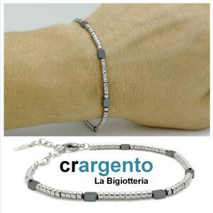 bracciale in acciaio inox da uomo catena regolabile perline con braccialetto per
