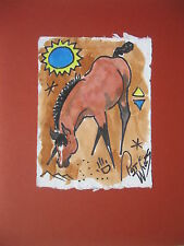 Rock Art Bay Foal Ponies Pat Wiles Original Watercolor Horse  Horses