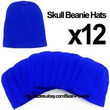 **ROYAL BLUE** WHOLESALE LOT OF 12 PLAIN BLANK SOLID SKULL SHORT BEANIE HATS