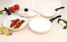 Cooks Professional Non Stick Scratch Resistant 3 Piece Ceramic Pans Easy Clean Cream
