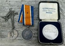 More details for ww1 war medal with baor rifle skill medal & silver 'peace' medallion -h. j. west