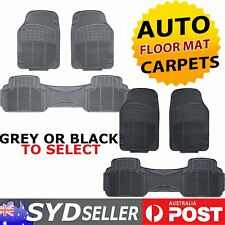 H/duty Car Auto SUV  Rubber Floor Mats 5 Seats (2 Row) All Weather Black/ Grey