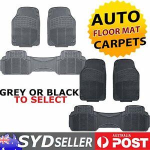 H/duty Car Auto SUV  Rubber Floor Mats 5 Seats (2 Row) All Weather Black/ Grey
