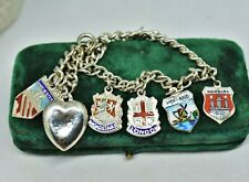 Vintage Sterling Silver Charm bracelet with enamel Country charms D and F #P826