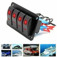 4 Gang Rot LED Schaltpanel Schalter Schalttafel Leistungsschalter 12V Boot Bus #