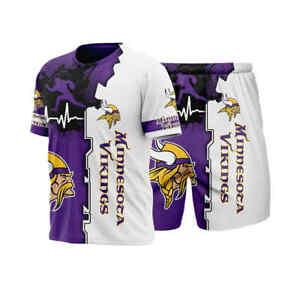 Minnesota Vikings 2Pcs Tracksuit Set Short Sleeve T-shirt Shorts Casual Suits