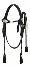 Black Leather Western Bridle w/Silver Ferrules & Split Reins Horse Size