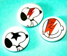 SET OF 3 SNOOPY PEANUTS DAVID BOWIE INSPIRED PIN BADGES